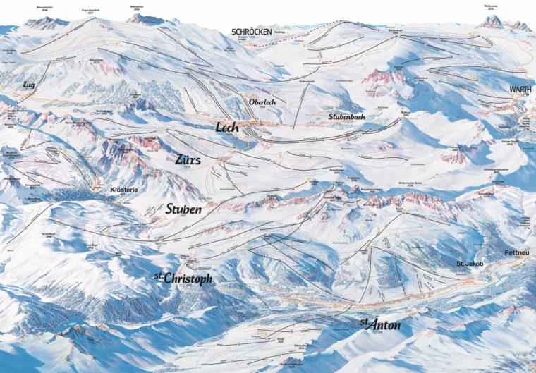 Karte vom Skigebiet Ski Arlberg - Pistenplan & Lifte