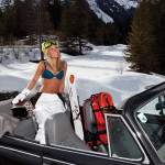 Skilehrerin im Cabrio