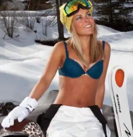 Skilehrerin im BH