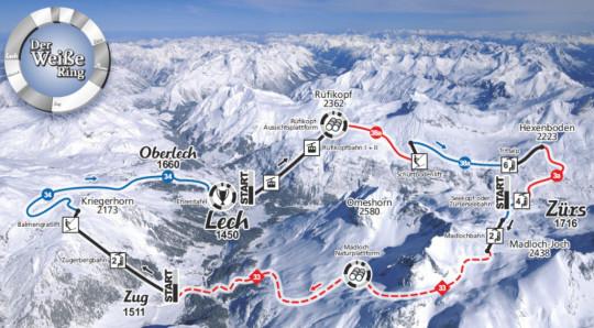Der Weisse Ring - Streckenverlauf für das Rennen in Lech-Zürs am Arlberg