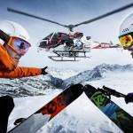 Skifahrar vor Helikopter
