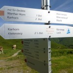 Wegweiser bei der Bergstation der Steffisalp Bahn
