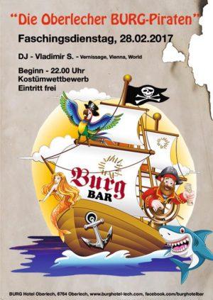 """Karneval Party in der BURG Bar Oberlech. """"Die Burg-Piraten"""" Dienstag 28. Februar 2017"""
