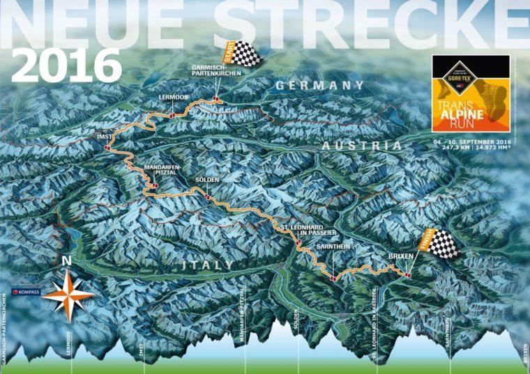 Strecke des Goretex Transalpine Run 2016